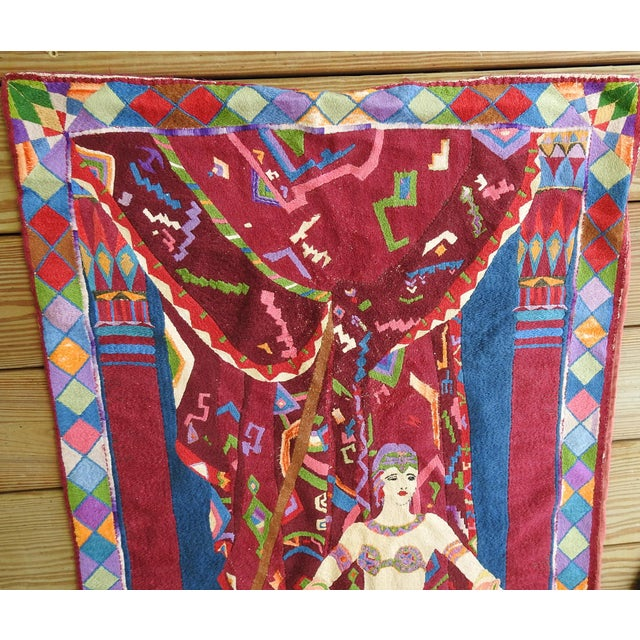 Art Deco Art Deco Embroidered Tapestry Exotic Dancer For Sale - Image 3 of 4