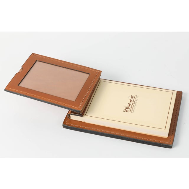 1970s Delvaux Paris Leather and Brass Note Pad and Letter Rack Desk Set - 2 Pc. For Sale - Image 5 of 10