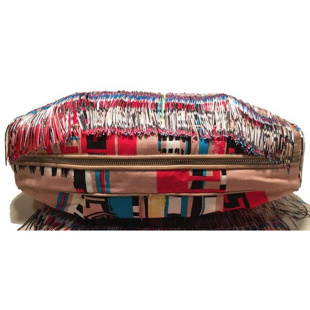 Abstract Versace Multicolor Fringe Leather and Twill Frida Hobo Shoulder Bag For Sale - Image 3 of 9