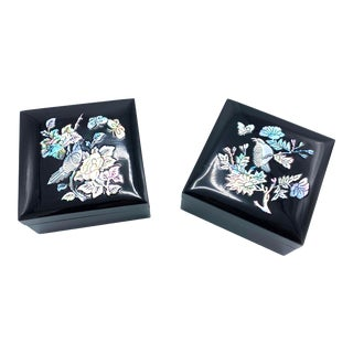 Vintage Black Lacquerware Trinket Boxes with Mother of Pearl & Abalone Inlay Lids - a Pair For Sale