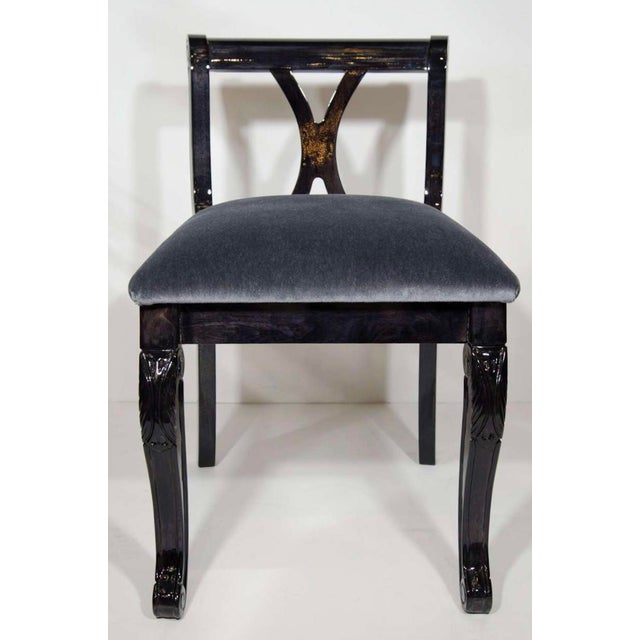 1930s Pair of Luxe Art Deco Side Chairs in Mohair and Ebony Walnut For Sale - Image 5 of 10