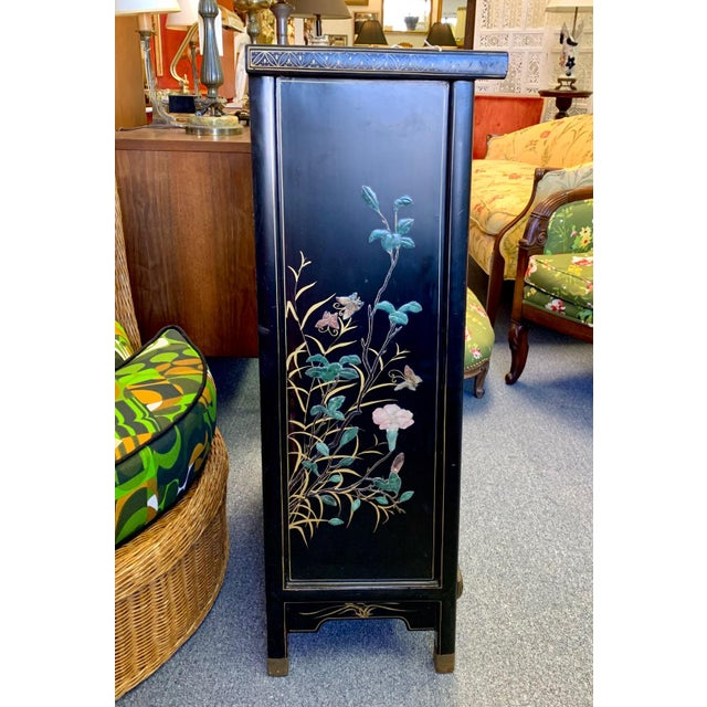1950's Vintage Black Lacquer Chinoiserie Armoire For Sale - Image 9 of 12