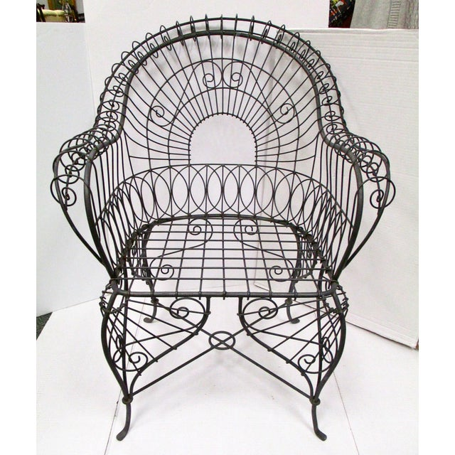 Victorian Style Black Wire Garden Chair - Image 2 of 6