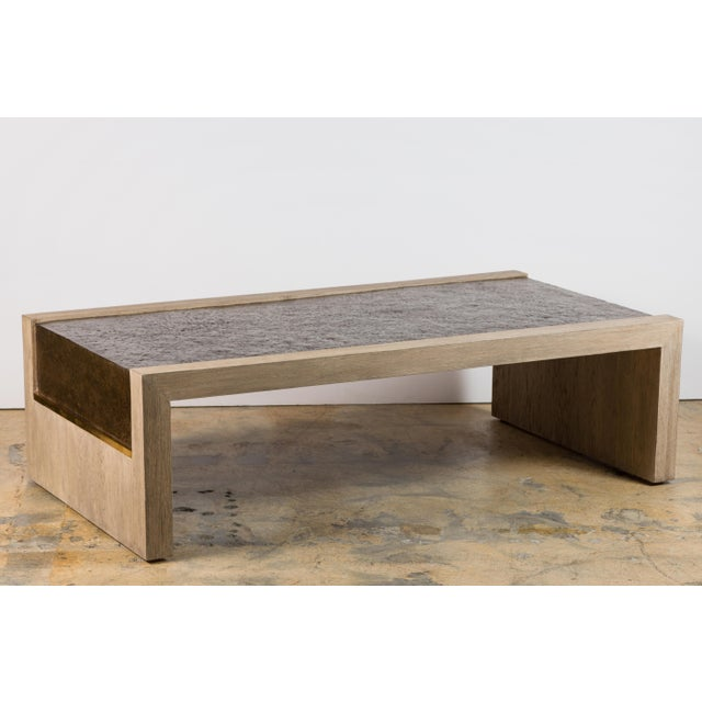 Paul Marra rustic modern waterfall cocktail table. Contemporary table made in distressed gray oak, hand hammered steel...