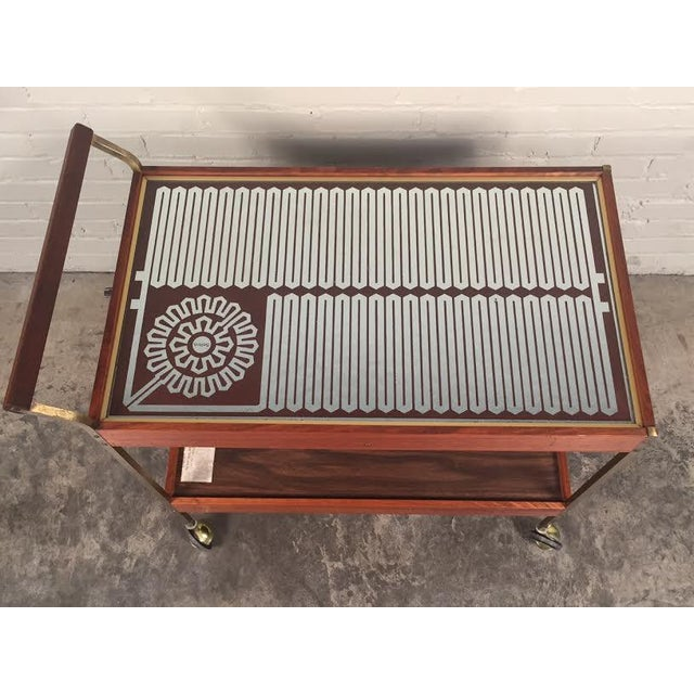 Brown Mid-Century Modern Salton Hot Tray Cart For Sale - Image 8 of 9