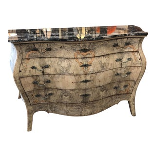 Italian Stripped Bombe Commode