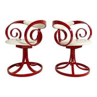 George Mulhauser Red Sultana Chairs, Pair For Sale