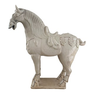20th Century Ivory Chinese Ceramic Ming Horse Statue For Sale