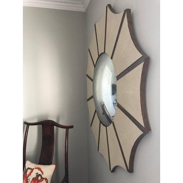 Modern Made Goods Daniela Sunburst Convex Mirror in Vintage Faux Shagreen For Sale - Image 3 of 6