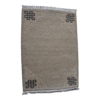 "Tibetan Handwoven Traditional Gray Small Rug - 24"" x 334"""