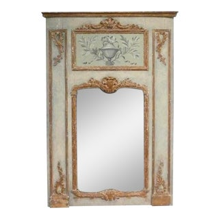 19th Century French Gilt and Painted Trumeau Mirror For Sale