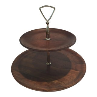 Mid-Century Ozark Walnut Tiered Server