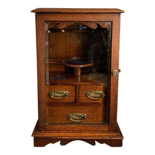 Antique English Tiger Oak W Glass Pipe Smoke Cabinet Game Card Box Humidor 1918 For Sale