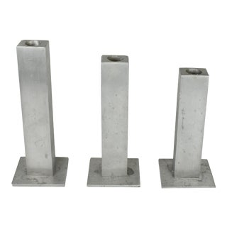 Mid 20th Century Handmade Modern Aluminum Candle Stick Holders - Set of 3 For Sale