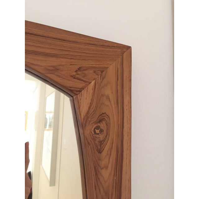 CB2 Mid-Century Style Teak Wall Mirror For Sale - Image 5 of 5