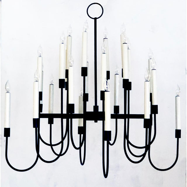 1960s A Stylish 1960's Black Enameled Metal 12-Arm Candelabra Style Chandelier Attributed to Tommi Parzinger For Sale - Image 5 of 5