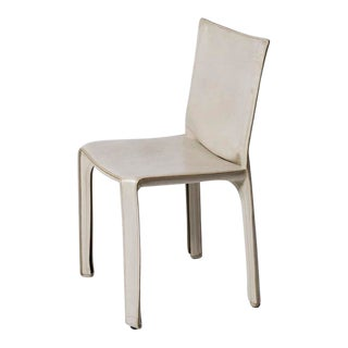 Mario Bellini for Cassina White Leather Cab Side Chair For Sale