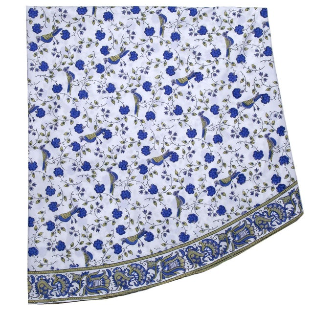Birds On Vine Round Tablecloth - Blue For Sale - Image 4 of 4