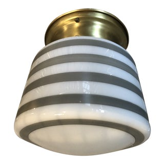 Painted Grey and White Stripe Glass Flush Mount Light With Brass Fitter For Sale
