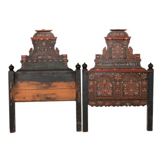 Antique Folk Art Painted Headboard and Footboard - 2 Pieces For Sale