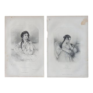 1873 Portraits of Women in Shakespeare Lithographs - a Pair For Sale
