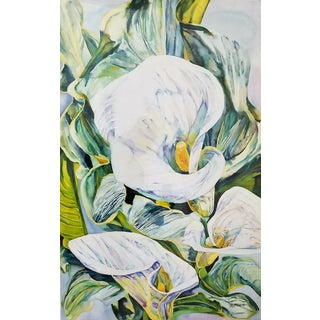 Art Museum Quality Watercolor Painting by Patricia Tobacco Forrester- Signed-Botanical Organic Modern Tropical Coastal Boho Palm Beach Floral Flowers