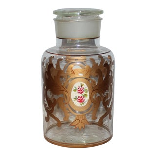 Vintage Apothecary Jar With Hand Painting For Sale