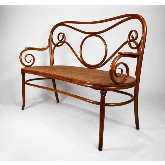 Modern Gebruder Thonet Viennese Secessionist Bentwood Settee Designed by August Thonet For Sale - Image 3 of 7