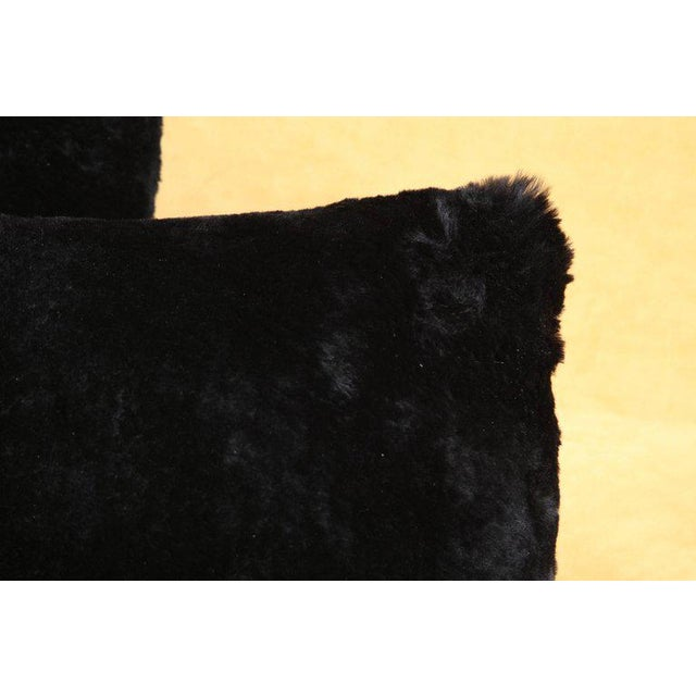 Modern Black Shearling Pillows For Sale - Image 3 of 6