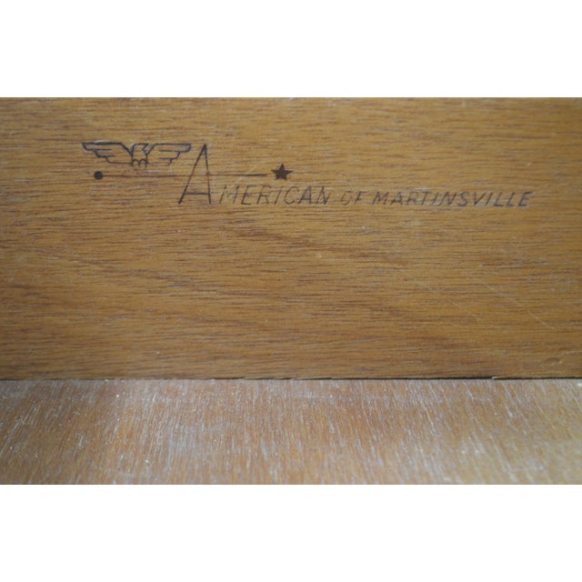 American of Martinsville Faux Bamboo & Wicker Writing Desk For Sale - Image 12 of 13