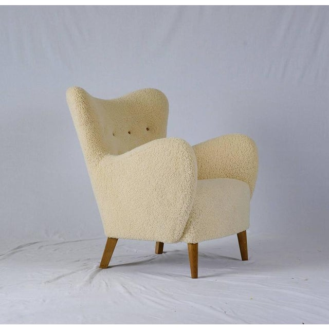 Scandinavian Sheepskin Lounge Chair - Image 2 of 10