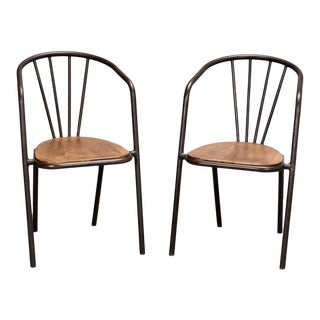 French Mid Century Industrial Tubular Metal & Wood Arm Chairs - Pair For Sale