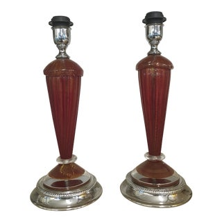 Murano Table Lamps in Red and Gold Murano Glass - a Pair For Sale