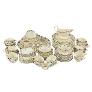 "1920s Englsh Traditional Copeland Spode ""Wicker Dale"" China - 90 Piece Set For Sale"