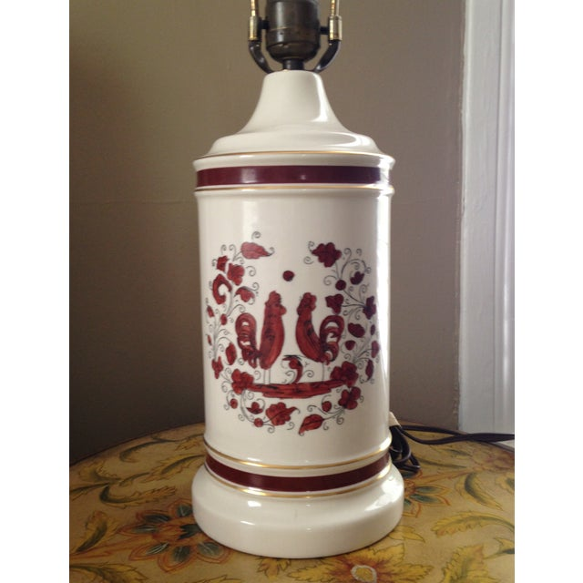 White & Red Ceramic Rooster Table Lamp - Image 2 of 5