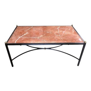 Maison Baguès Wrought Iron Coffee or Cocktail Table W Beveled Sienna Marble Top For Sale
