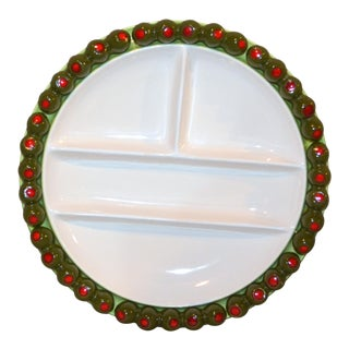 Vintag Mid-Century Bon Appetit Olive-Rimmed Hors d'Oeuvre Plate For Sale