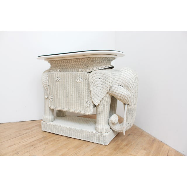 Wicker Elephant Bar W/ Mirror Top and Hidden Storage For Sale - Image 9 of 9