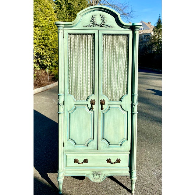 Lewis Mittman Blue Painted Louis XVI Style Armoire For Sale - Image 13 of 13