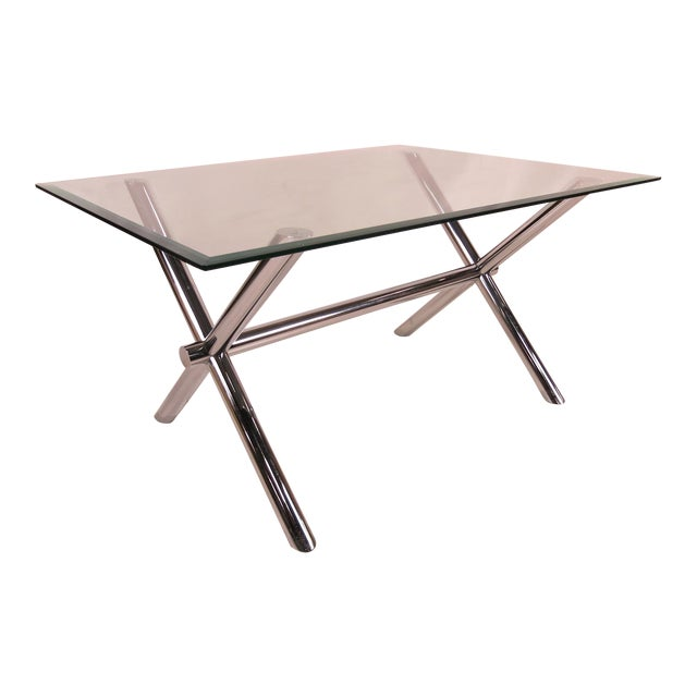 Italian Chrome X-Base Trestle Dining Table or Writing Desk For Sale