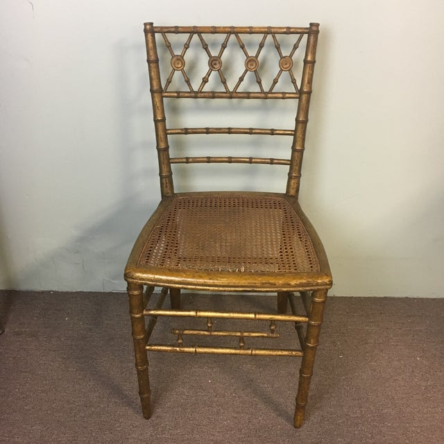 Giltwood 19th Century Giltwood Faux Bamboo Chair For Sale - Image 7 of 7