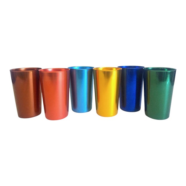 Vintage Mid Century Modern Italy Anodized Spun Aluminum Multicolor Tumbler Cups - Set of 6 For Sale
