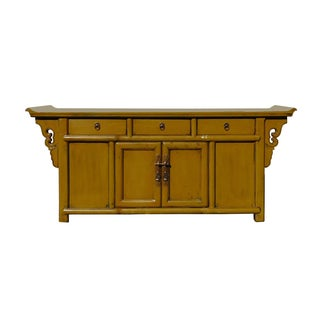 Mustard Yellow Chinese Credenza For Sale