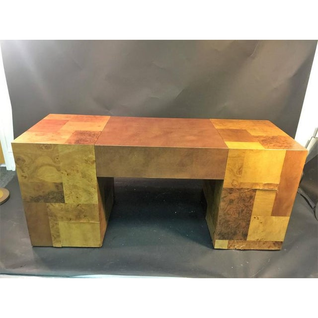 PAUL EVANS PATCHWORK BURLED WOOD AND LEATHER DESK - Image 9 of 10