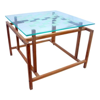 1960s Mid-Century Modern Henning Norgaard for Komfort Teak and Glass Side Chess Game Table For Sale
