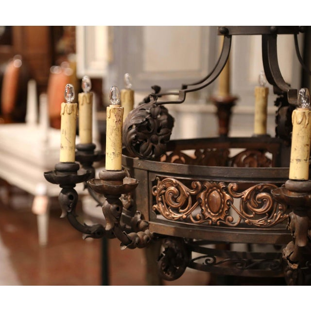 French 19th Century French Gothic Iron and Copper Two-Tier Fifteen Light Chandelier For Sale - Image 3 of 11