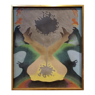 1970's Organic Modern Abstract Painting Signed Herbin For Sale