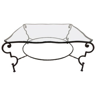 French Wrought Iron and Glass Coffee Table For Sale