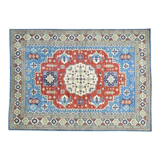 Hand-Knotted Kazak Geometric Design Wool Rug- 10′1″ × 14′ For Sale