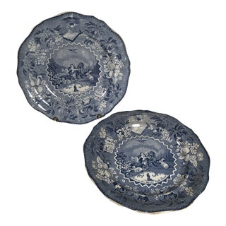 Antique Transferware Staffordshire Millennium Blue and White Plates - a Pair For Sale